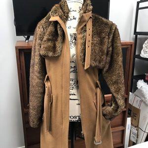 Faux Fur Wool Blend Lined Zip Coat.